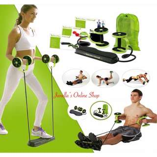 Core Double Wheels Ab Roller Pull Rope Exercise Equipment