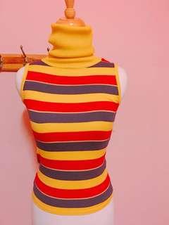 🚚 古著彩虹條紋針織背心