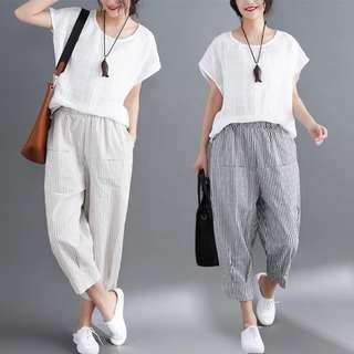 (M~XL) Summer Casual Pants Striped Cotton Low Cut Pants Cropped Harem Pants