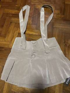 BNWT Brown suede suspenders shorts