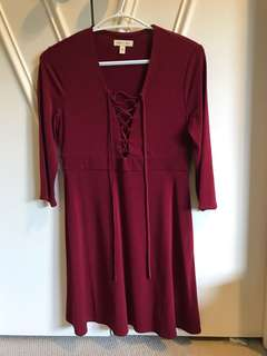 Urban outfitters lace up maroon dress, M