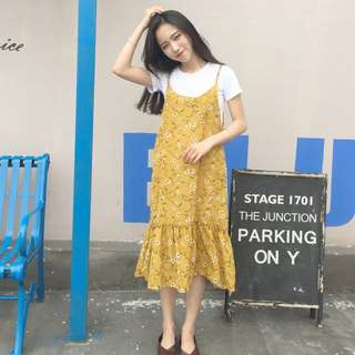 Floral (yellow) singlet dress