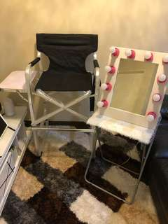 Makeup Chair & Vanity Mirror