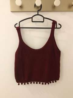 Knitted Maroon Crop Top