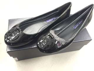Ralph Lauren Purple Label Collection black patent leather flats