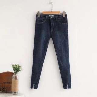 (2XL~4XL) 2018 Summer New Korean Washed Grinding White Grabbed Jeans Wild Wild Waist pants