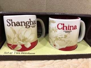 2pcs set 3oz Starbucks Shanghai China demitasse cups