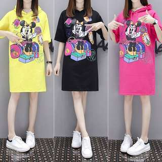 (M~4XL) European Station Cartoon T-shirt Loose Casual Head Hooded Short Sleeve Long Sweatshirt