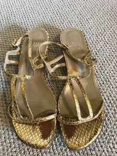 Stuart weitzman gold sandals, size 8