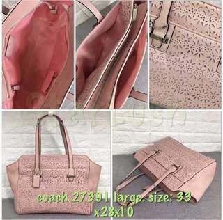 Auth COACH Taylor Eyelet Leather handbag PINK