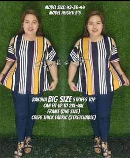 Plus Size Bakuna Blouse Stripes