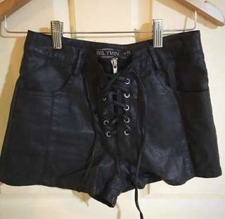 Evil Twiin Faux Leather Shorts
