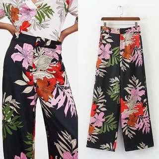 European Floral Print Women's Casual Wide Leg Wide Leg Pants