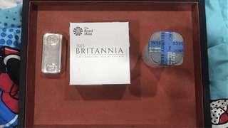 Pamp Britannia silver coins bar