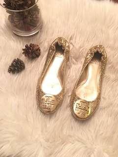 Tory Burch Metallic Glitter Reva Ballet Flats