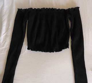 Cropped Black Off the Shoulder Long Sleeve