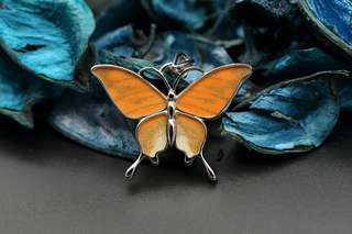 Navia Jewelry Real Butterfly Wing Jewelry Hebomoia glaucippe Silver Pendant