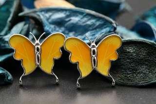 Navia Jewelry Real Butterfly Wing Jewelry Phoebis philea Cufflinks