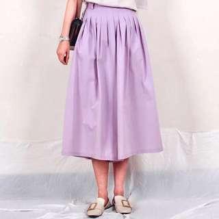 🚚 日本品牌Owlspale外貿原單氣質甜美復古粉紫色蓬蓬百褶褲裙寬褲