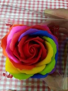 Rainbow soap rose