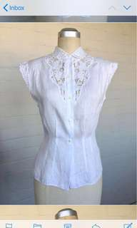 Beautiful White Cotton Linen Embroidered Collar Blouse XS
