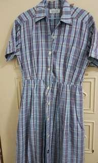 鳥樹 淺藍底紫格古著洋裝
