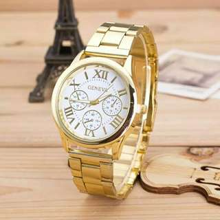 Gold Watch Geneva Roman Women Unisex