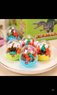 8 Dino Erasers in a Dino Egg