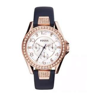 Mother's Day OFFER - 100% Authentic - Fossil Riley Multifunction Blue Leather Watch ES3887
