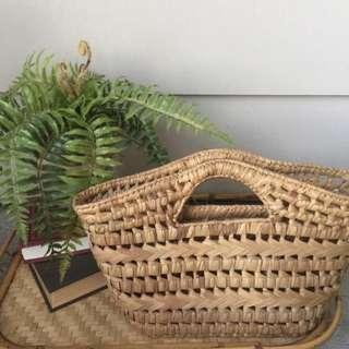 現貨美國二手Vintage 手工編織菜籃包