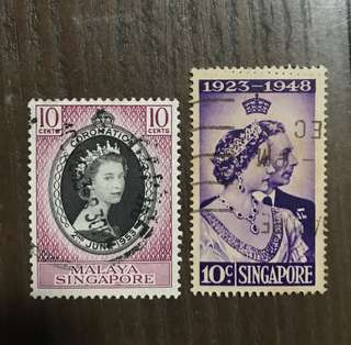 Singapore straits Settlements Queen Eliz stamps used 2v