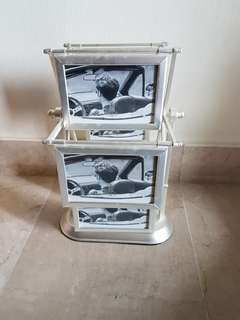 silver rotating photo frame