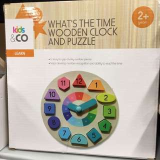 Wooden Toy Clock and Puzzle