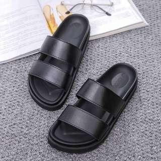 INSTOCK Double Strap Sandals / black slippers / Korean slips on