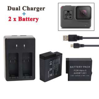 GoPro Hero 5 2pcs Battery + Charger