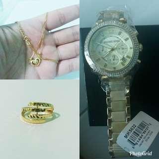 Saudi Gold 18k with MK watch bundle