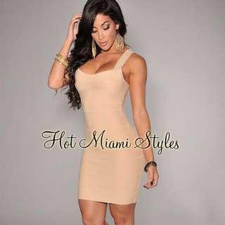 Brand New!!! size small Nude/Beige Bandage mini dress