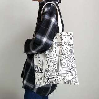 Korean Comic Style Recyclable Tote Bag