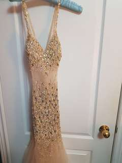 TERANI Couture Champagne/Gold Embroidered Mesh Prom Dress (Size: 6)