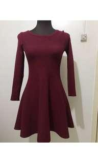 Maroon Knit Flare Dress