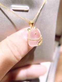 18k金粉晶芙蓉石😺可愛招財貓頸鏈🎁母親節禮物珠寶誠意推薦