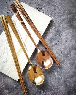 Sendok Korea cantik set (gold/rose gold/titanium)