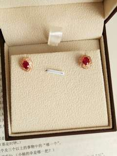 total 1.2ct ruby earring 18k gold diamonds