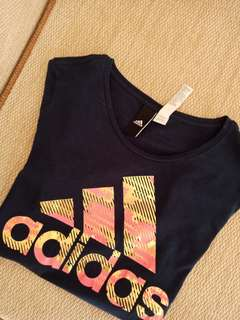 AUTHENTIC ADIDAS BLUE TOP WITH PINK AND GOLD WORDINGS