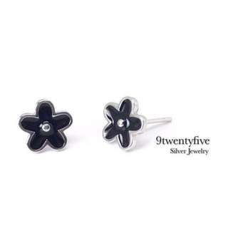ERN-021 • S925 Silver Cute Black Flower Stud Earring