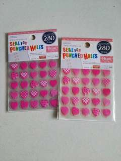 Daiso heart seal for punch holes