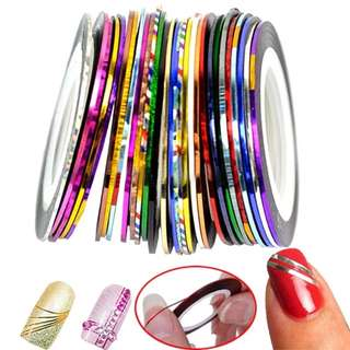 30Pcs Colourful Lines Sticker Nail Tapes