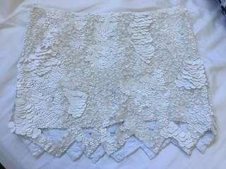 Aje sequin white Catara barnacle skirt size 12