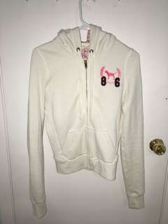PINK zip-up white sweater