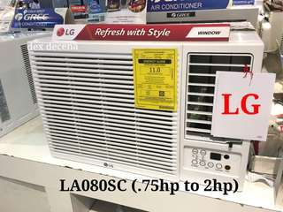 Brand New LG Window Type Aircon .75hp to 2hp Remote Control